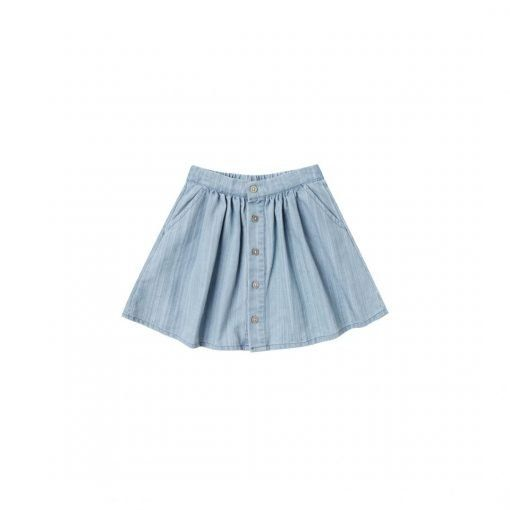button front skirt dusty blue