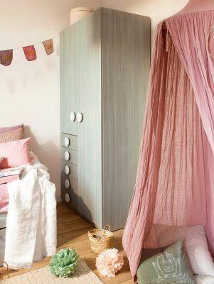dosel rosa a modo cabana en dormitorio infantil 962x1280